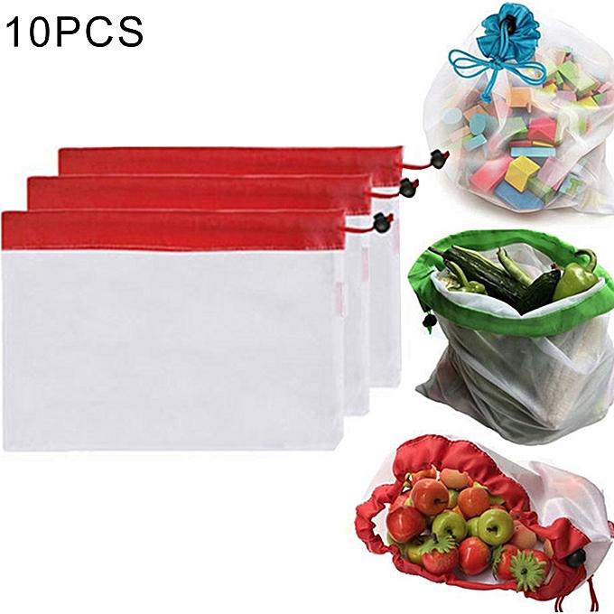 UNIVERSAL 10 PCS Double-Stitched Strength Reusable Fruit Sandwich Pouch Mesh Storage Bags, Taille  30cm x 20cm, Random Couleur Delivery à prix pas cher
