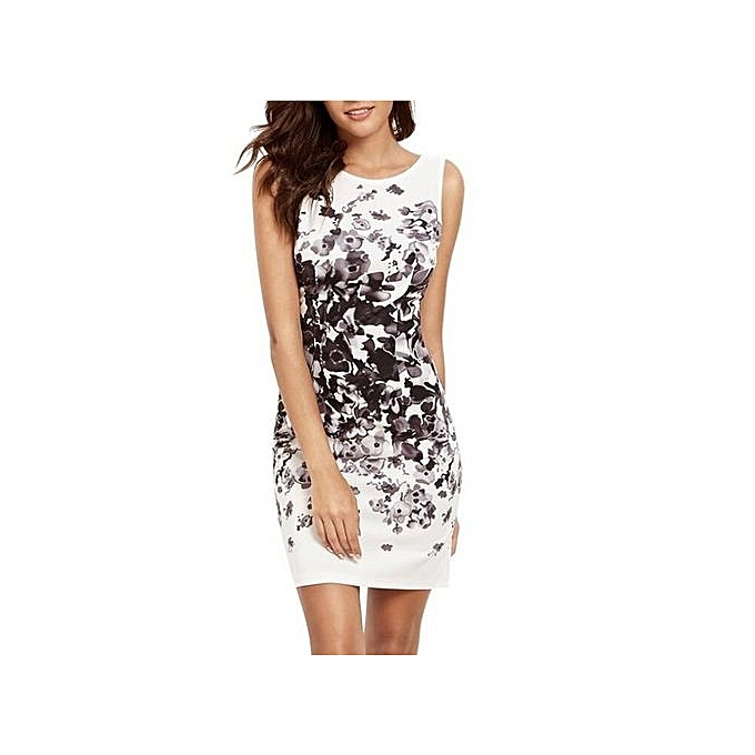 mode grand Taille femmes Robees Sheath Knee-Kength Sleeveless Cocktail Hip Printed Robe for femmes-noir à prix pas cher