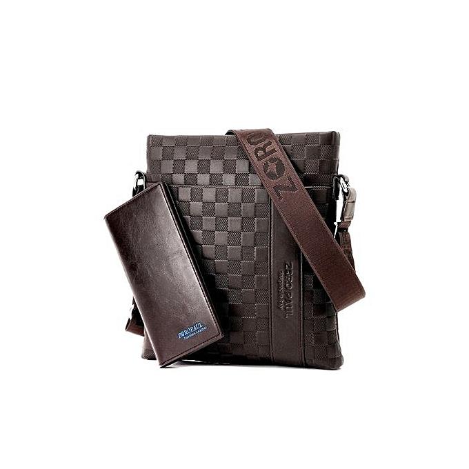 Generic Men's Fashion Zipper Business Shoulder Bag - marron à prix pas cher