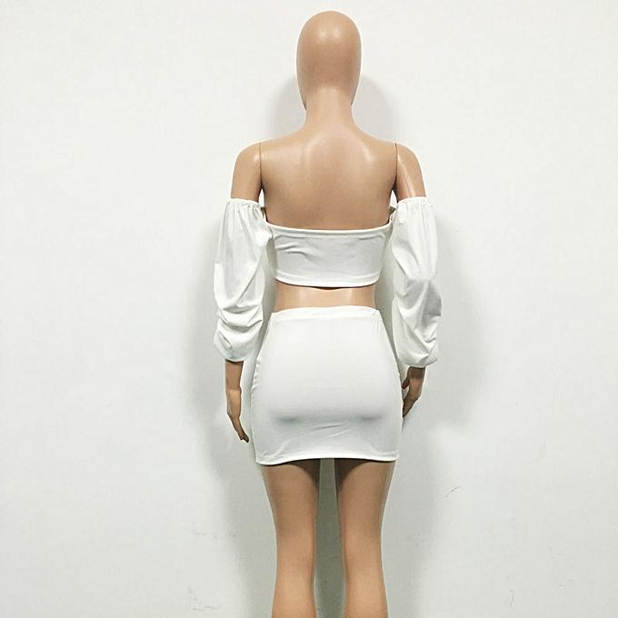 mode Hiamok femmes Off Shoulder Half Sleeve Shirt Top chemisier + jupe Two-Piece Outfit WH L à prix pas cher