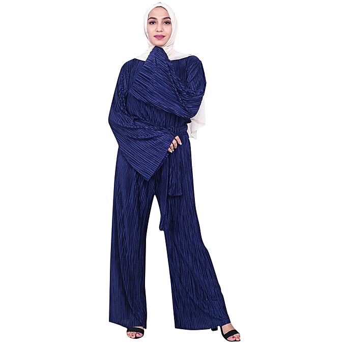 Fashion whiskyky store Jumpsuit Wide Leg Pants Romper femmes Ramadan Muslim Islamic Kaftan Vintage Abaya à prix pas cher