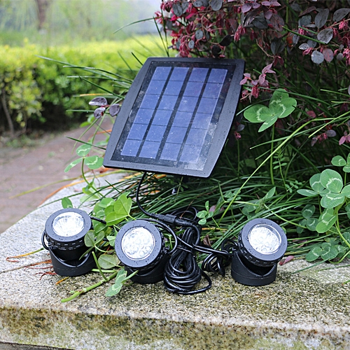 Projecteur solaire extérieur à LED à 3 têtes, lampe de projection  sous-marine à énergie solaire, type de lampe d\'éclairage intérieur, lampe  de ...