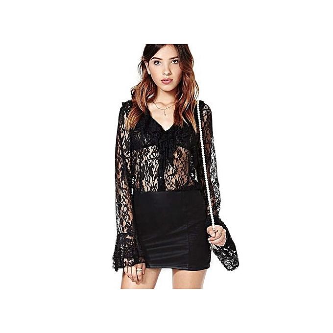Generic HL Sexy V Neck Flare Sleeve Lace See Through Flounced Blouse For femmes (noir)(S-XL) à prix pas cher