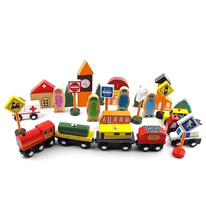 Autre Supports pédagogiques en bois Trafic urbain Jouets éducatifs Enfants Bloc de construction de puzzle - Couleur aléatoire à prix pas cher