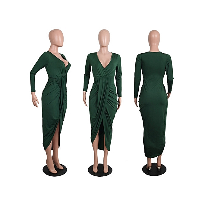 OEM New American and European new sexy dress tight long sleeved V collar loose dress S-2XL-vert à prix pas cher