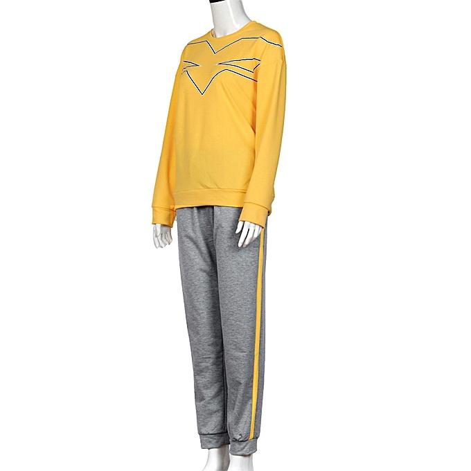 Fashion femmes Sweatshirt O Neck Long Sleeve Blouse Shirt Long Pants Outfit YE L à prix pas cher