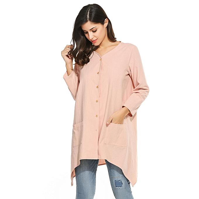 Meaneor femmes& 039;s Décontracté V Neck Button Up Linen Loose Asymmetrical Hem Long chemisier-rose à prix pas cher
