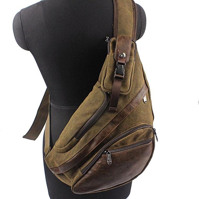 Other Hommes toile Décontracté voyage  Motorcycle High capacité Messenger Shoulder Sling Pack Chest Triangle sac(Coffee) à prix pas cher
