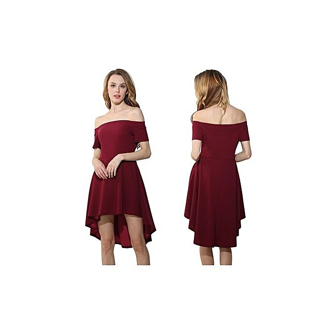 mode One-shoulder courte-sleeved grand Swing Tuxedo-WINE rouge à prix pas cher