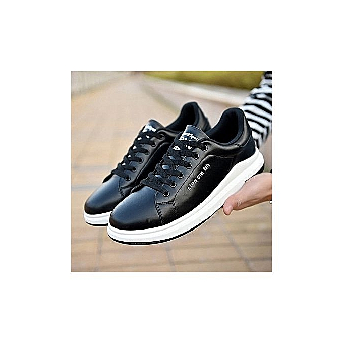 Generic Beauty mode Hommes's Sports chaussures In Pure Couleur With Sports chaussures Wear-resistant Round Head And Pure Couleur Hommes's Sports chaussures-noir à prix pas cher