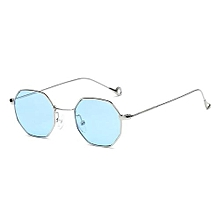 b0f31dca009 Sunglasses Male And Female Ocean Slices Transparent SunglassesRetro Small  Square Octagonal-Silver Frame Through Blue