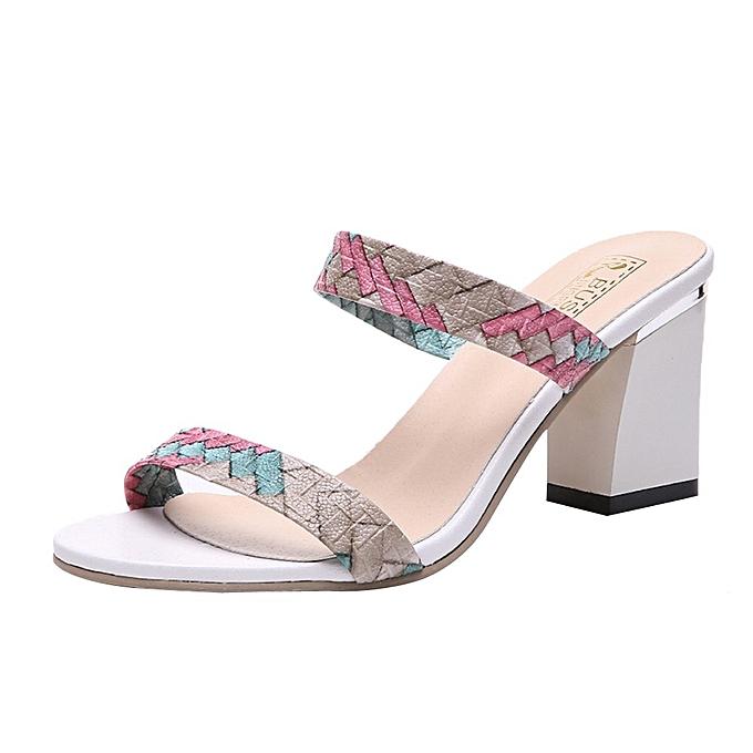 Fashion Blicool Shop femmes Sandals Fashion femmes Summer Mixed Couleurs Open-toed High Leisure Sexy Heeled Sandals-vert à prix pas cher    Jumia Maroc