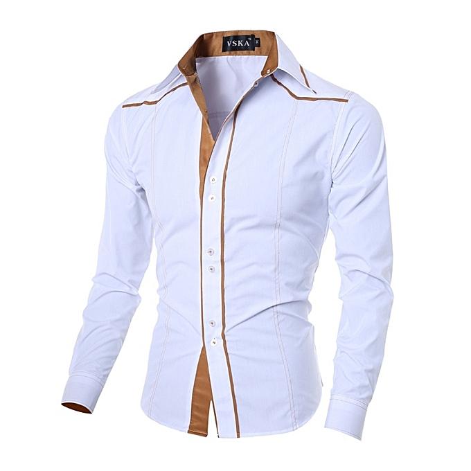 Other New Stylish Men's Special Line Slim Shirt Long Sleeve Leisure Shirts-blanc à prix pas cher
