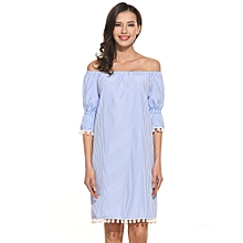 68e38614dfc3 Women Casual Half Sleeve Striped Off Shoulder Tassel Sexy Straight Dress -Blue