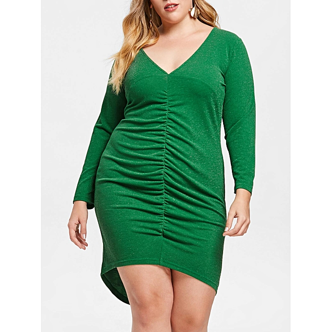 Fashion Plus Taille Ruched Low Cut Bodycon Dress,Jungle vert à prix pas cher