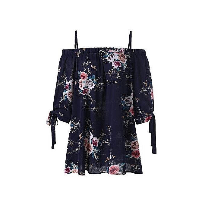 Nextmia Plus Taille Floral Cold Shoulder Blouse_PURPLISH bleu à prix pas cher