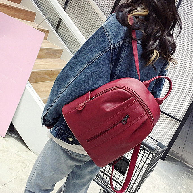 OEM Wohommes Fashion Solid ZIpper Shoulder Bags Backpack Travel Rucksack RD à prix pas cher