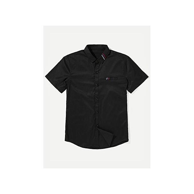 SHEIN Men Stripe Embroiderouge Shirt à prix pas cher