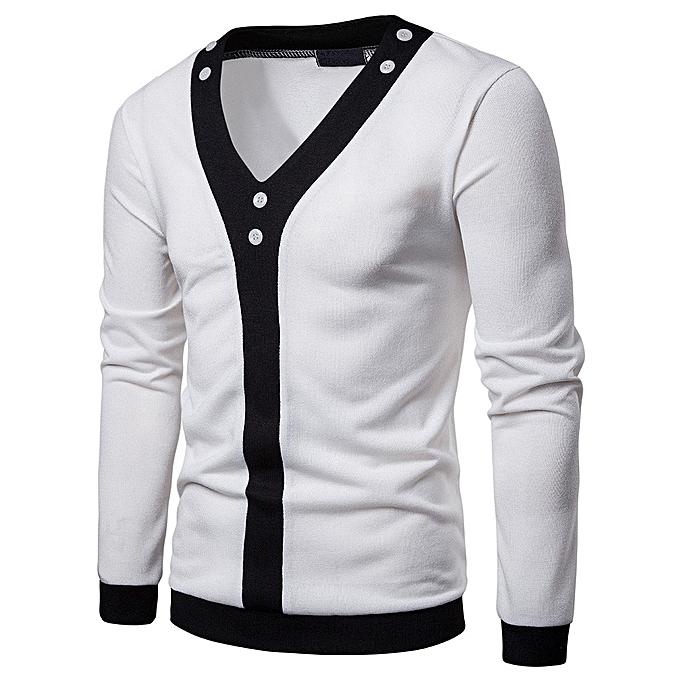 Fashion Mens Casual Autumn Patchwork Blouse V Neck Shirt Long Sleeve Tops -blanc à prix pas cher