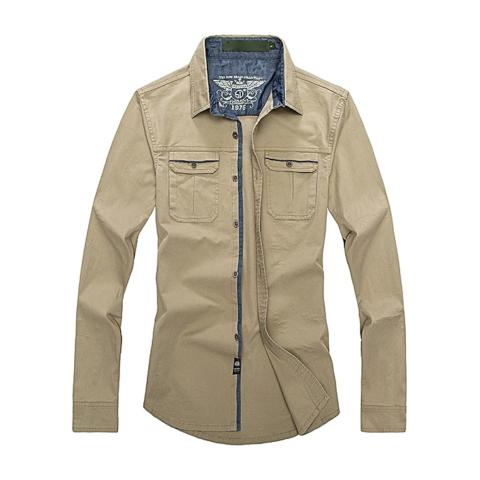 Fashion Mens Cotton Outdoor Long Sleeve Soft Work Business Casual Shirts à prix pas cher