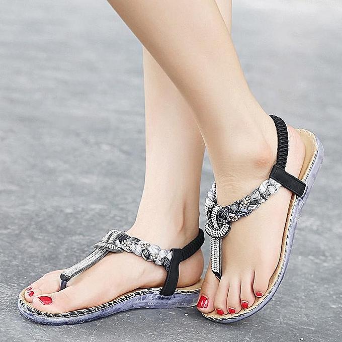 Fashion femmes Summer Rhinstone Bohemian Beach Comfortable Casual Fashion Flat Sandals à prix pas cher