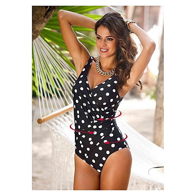 Autre 2019 New Plus Taille Swimwear femmes One Piece Swimsuit Solid Swimwear Large Taille Vintage Retro Swimsuit Bathing Suits Monokini 4XL( Q805DO) à prix pas cher