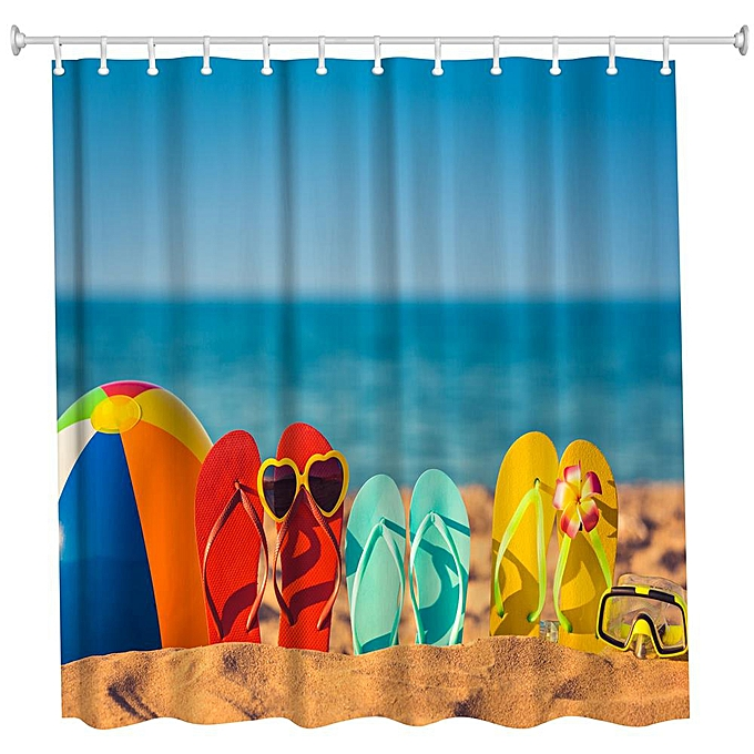 Other Funny Beach chaussures Polyester Shower Curtain Bathroom  High Definition 3D Printing Water-Proof à prix pas cher
