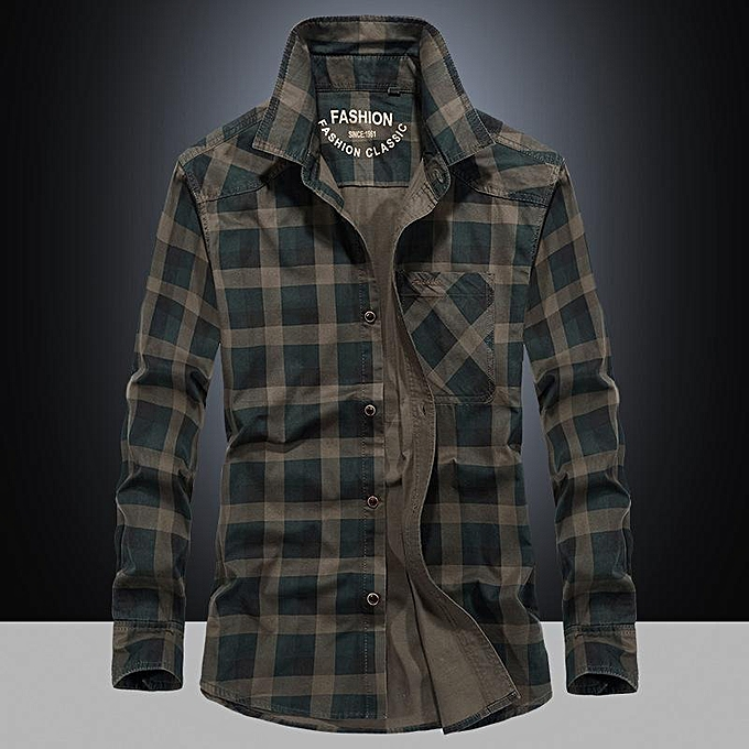 GENERAL Men's Casual Fashion Plaid Long Sleeve Shirt à prix pas cher
