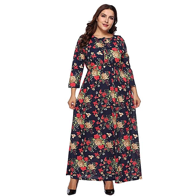 Fashion femmes Casual Plus Taille Printed Ankle MId Dress Loose Party Dress Sundress à prix pas cher