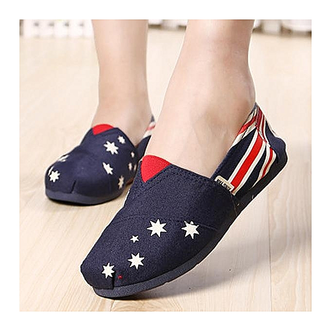 Fashion Fashion WoHommes  Canvas Color Pattern Print Star Stripe Flag Color Canvas Match Slip On Flat Loafers à prix pas cher  | Black Friday 2018 | Jumia Maroc f73468