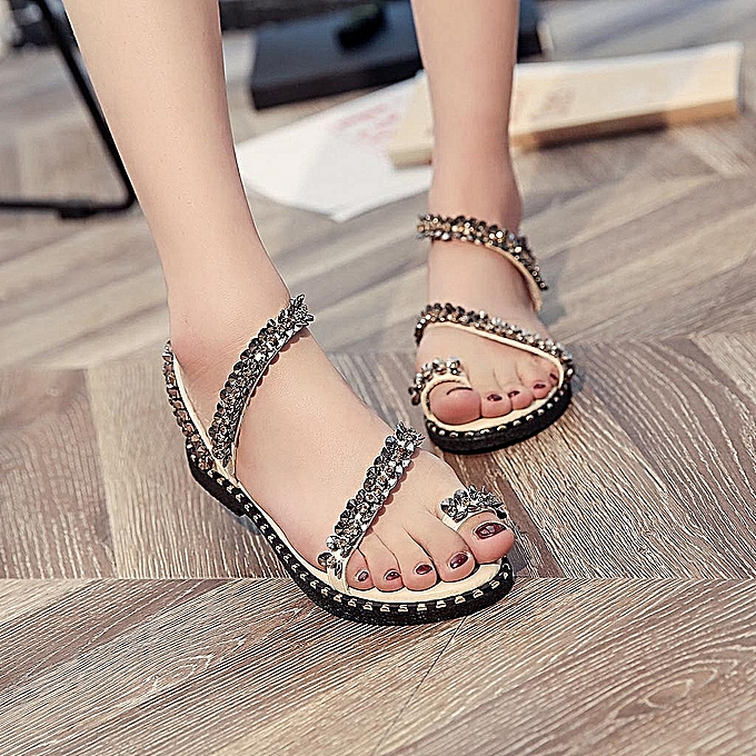 Fashion Ladies Fashion Crystal Bling Round Toe Flat Casual Loafers Sandals chaussures-or à prix pas cher    Jumia Maroc