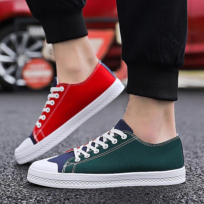 mode Hiamok Hommes's Mixed Couleurs Décontracté toile chaussures respirant mode paniers Flats chaussures à prix pas cher