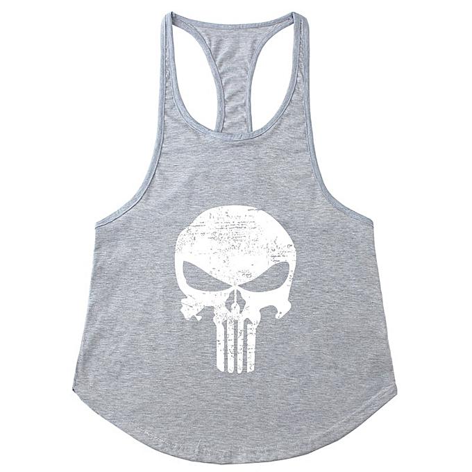 Other Men's Punisher's Skull Slim Shoulder Belt Running Sports Fitness vest-Gry&blanc à prix pas cher