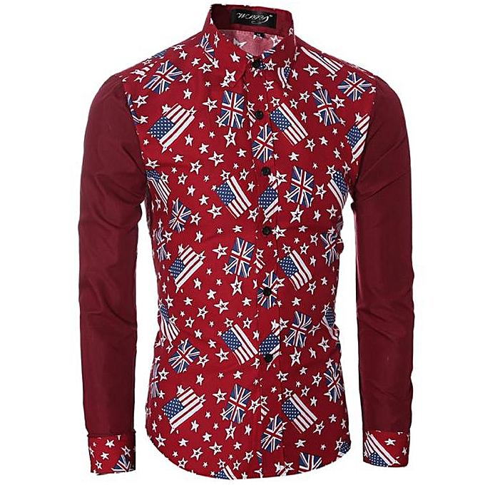 mode Fmode Pour des hommes Décontracté Shirts manche longue Slim Fit impression hauts T-shirt RD L- rouge à prix pas cher