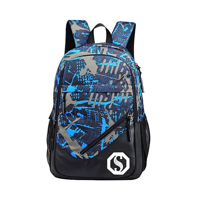 Fashion Tcetoctre  Fashion Men's Backpack Luminous Students External USB Backpacks -bleu à prix pas cher