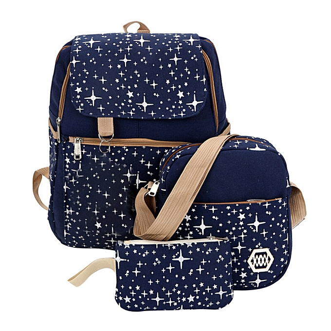 Fashion Singedan Shop Canvas Backpack Shoulder Bag Lady School Student Three Pack Set Travel Bag NY à prix pas cher
