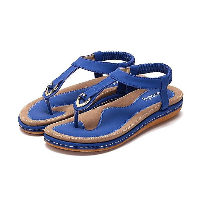Fashion SOCOFY Fashion femmes Comfortable Elastic Clip Toe Flat Beach Sandals-EU à prix pas cher