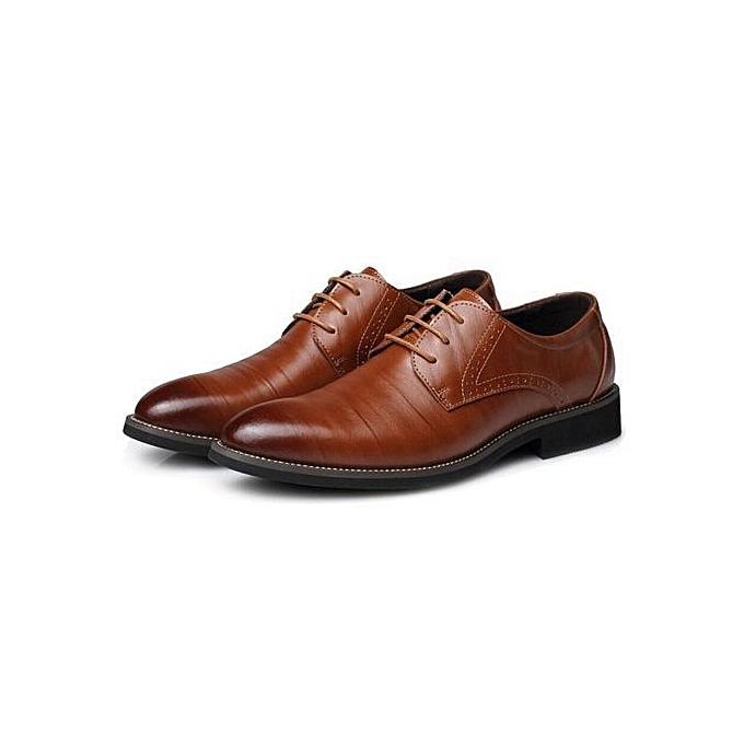 OEM Super Large Taille Business Winter Men's Basic Flat Super Fiber Gentle Wedding Leather chaussures Luxury Brand Formal Wearing British-light marron à prix pas cher    Jumia Maroc