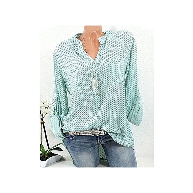 Generic New femmes polka dot V-neck long-sleeved shirt blouse-vert à prix pas cher