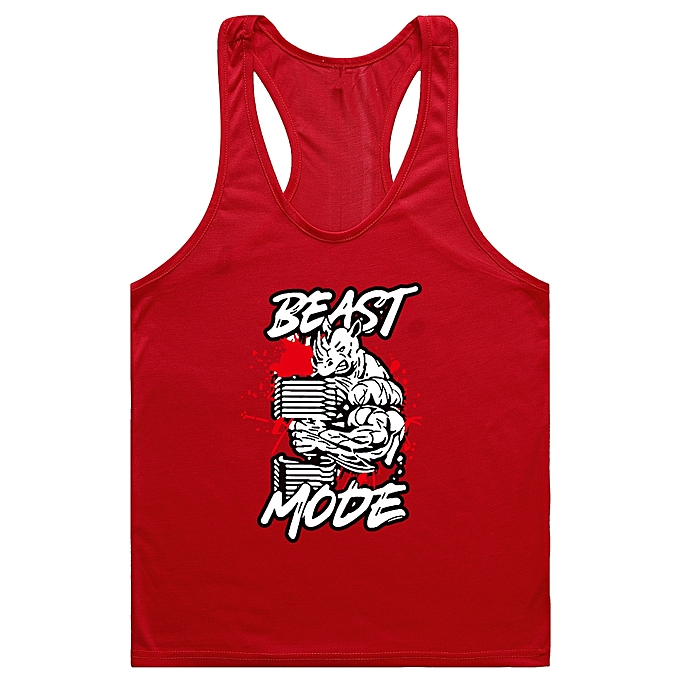 Other Men's New Professional Fitness and Bodybuilding Training Dig Deep H-shaped Vest-rouge à prix pas cher
