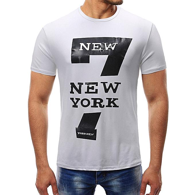 Fashion Fashion Personality Men's Summer Pure Couleur Zipper Sleeve print T Shirt Blouse à prix pas cher