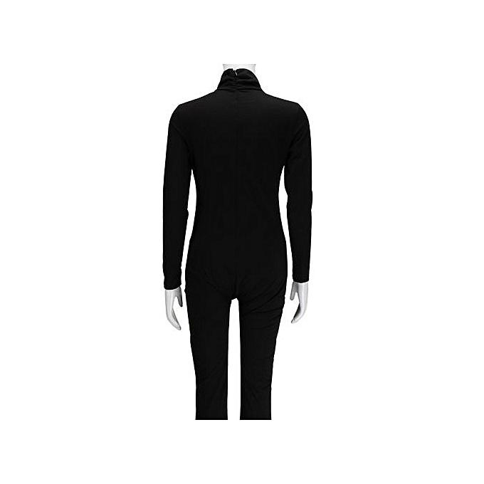 Eissely femmes Slim Fit manche longue Solid Clubwear Playsuit Bodycon Party Jumpsuits-noir à prix pas cher