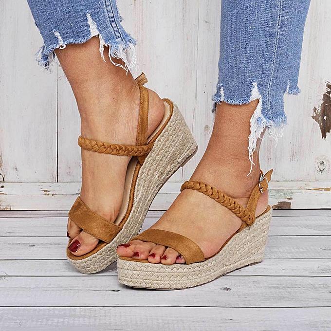 mode TEC Wohommes Wedges Flats Open Toe chaussures Ankle Belt Buckle Fish Mouth Sandals à prix pas cher