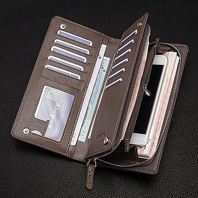 Fashion BYT Baellery Long Mens Leather Wallet With Zipper Baellery-B3393-3 (or) à prix pas cher