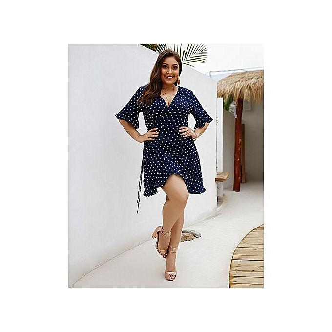 AFankara bleu Plus Taille Sleeveless Beach Dresses à prix pas cher