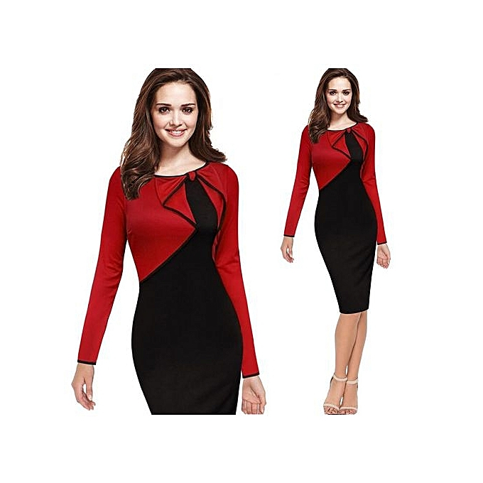 Fashion femmes Autumn Casual Work Business Office Couleurblock Contrasting Long Sleeved Fitted Bodycon Pencil Dress-rouge à prix pas cher