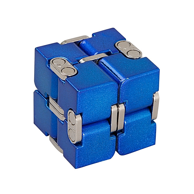 UNIVERSAL Premium Aluminium Alloy Infinity Cube Deformation Magical Cube Fidget Toys EDC Stress Relief Toy-bleu190g à prix pas cher