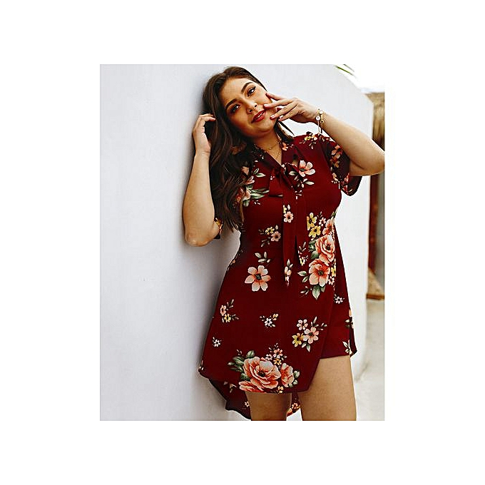 GeneAfrica rouge Plus Taille High-low Dresses With Floral Print à prix pas cher