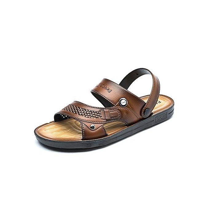 mode été hommes cool slippers mode plage chaussures non-slip wear-resistant home plage sandals-marron à prix pas cher