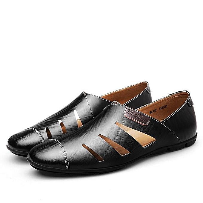 Fashion Fashion Men Hole Breathable Leather Sandals Cap-toes Slip On Casual chaussures-EU à prix pas cher
